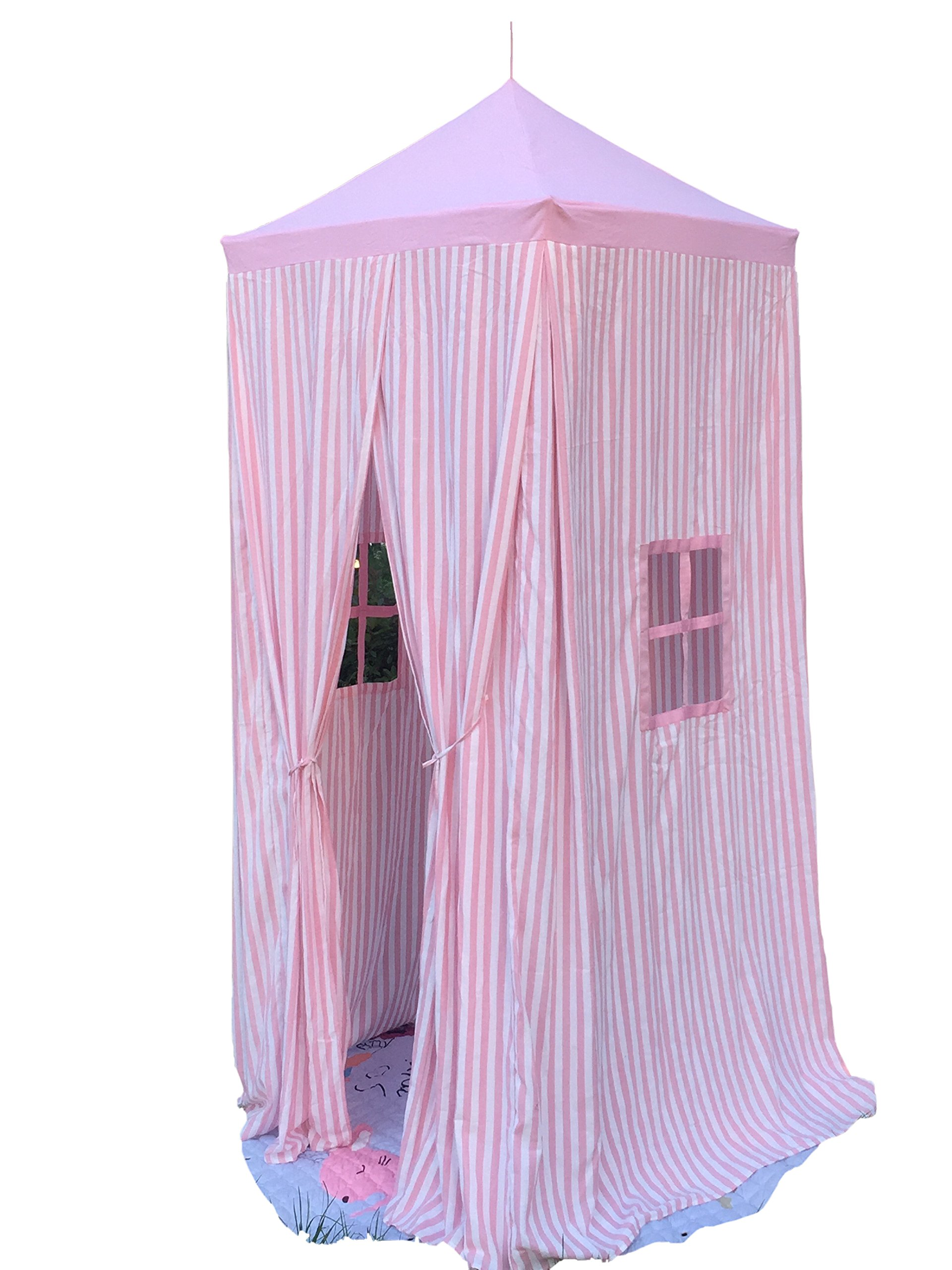 Pericross 7'9'' Square Baldachin Kids Reading Play Tent with Dual Windows (Pink Stripes)