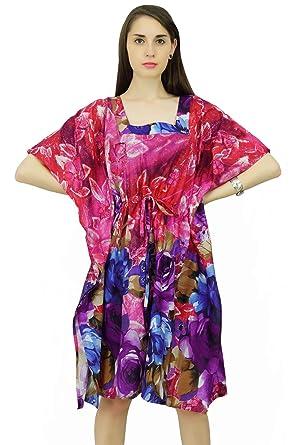 11e374d6ae Phagun Kaftan Cotton Bohemian Dress Floral Pattern Caftan Short Maxi  Nightwear: Amazon.co.uk: Clothing