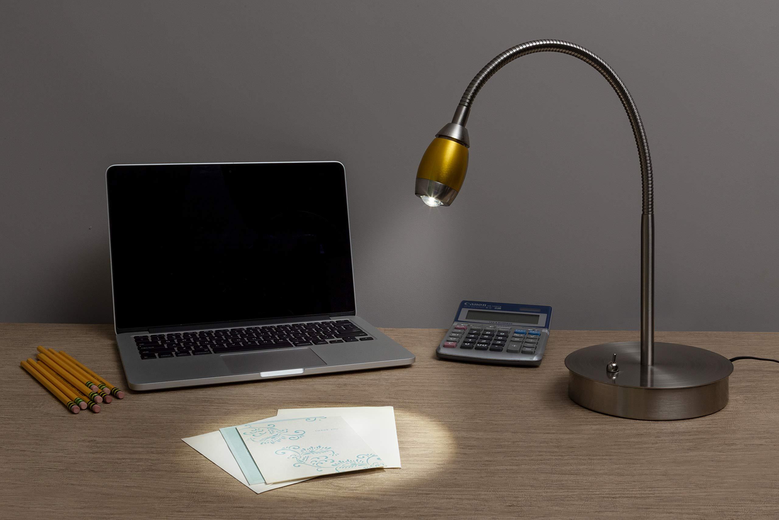 Daylight24 202071-39 Adjustable Beam LED Desk Lamp, 7'' x 6'' x 19.5'', Brushed Nickel/Gold by daylight24 (Image #5)
