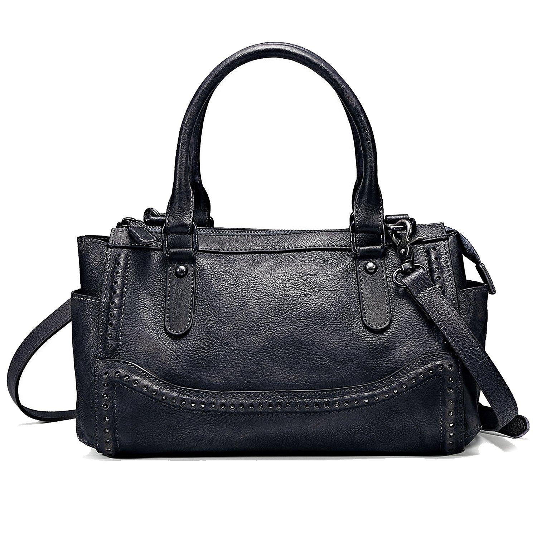 NiceEbag Women Satchel Top-handle Bag Vintage Handbags Shoulder Bag Ladies Genuine Leather Tote Purse With YKK Zipper [11.8 x 7 x 5.7 Inch] (Grey)