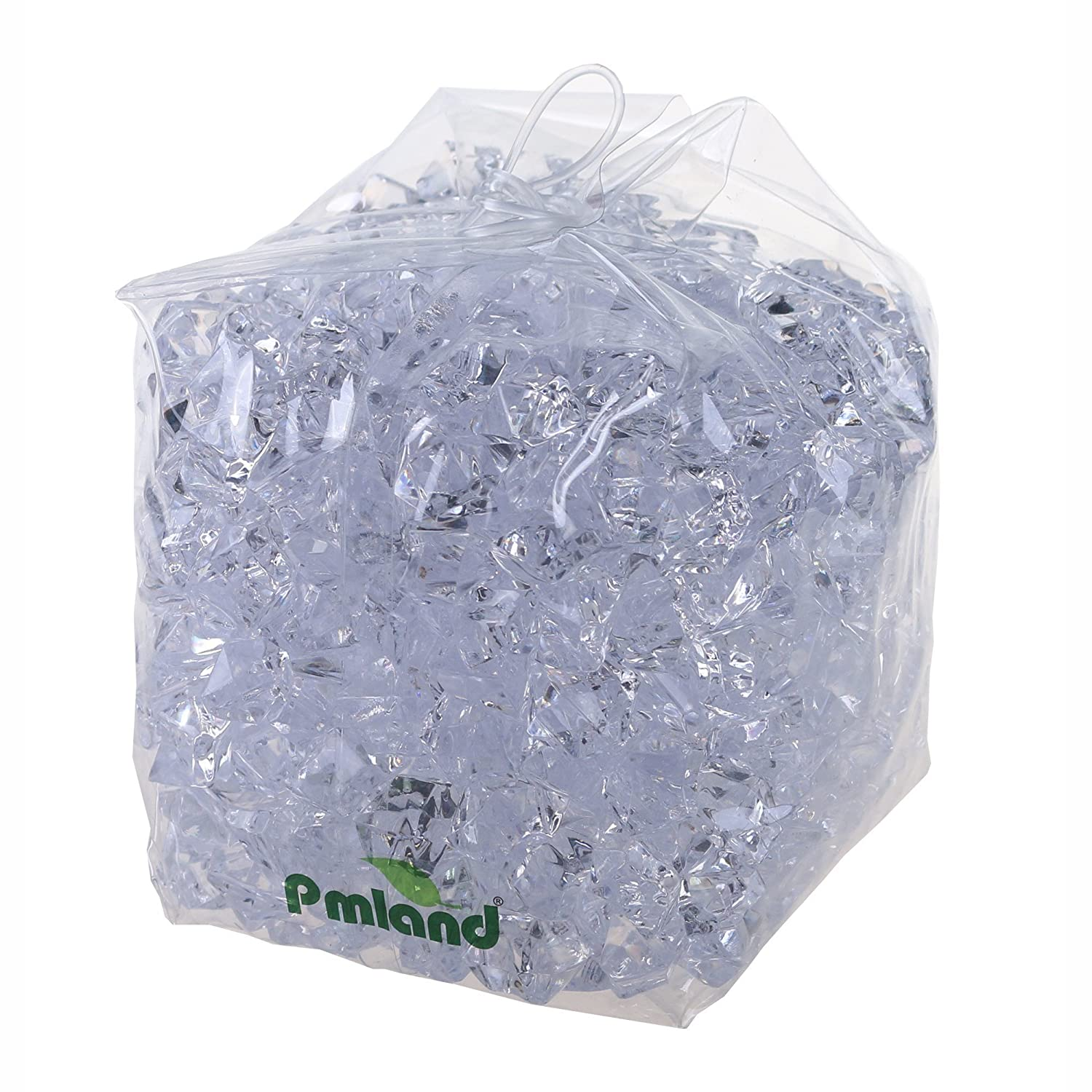 PMLAND Acrylic Ice Rock Cubes 3 Lbs Bag, Vase Filler or Table Decorating Idea- Clear