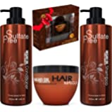 Moroccan Argan Oil Shampoo Conditioner and Hair Mask   Sulfate Free Organic Gift Set Best for Damaged, Dry, Curly or…