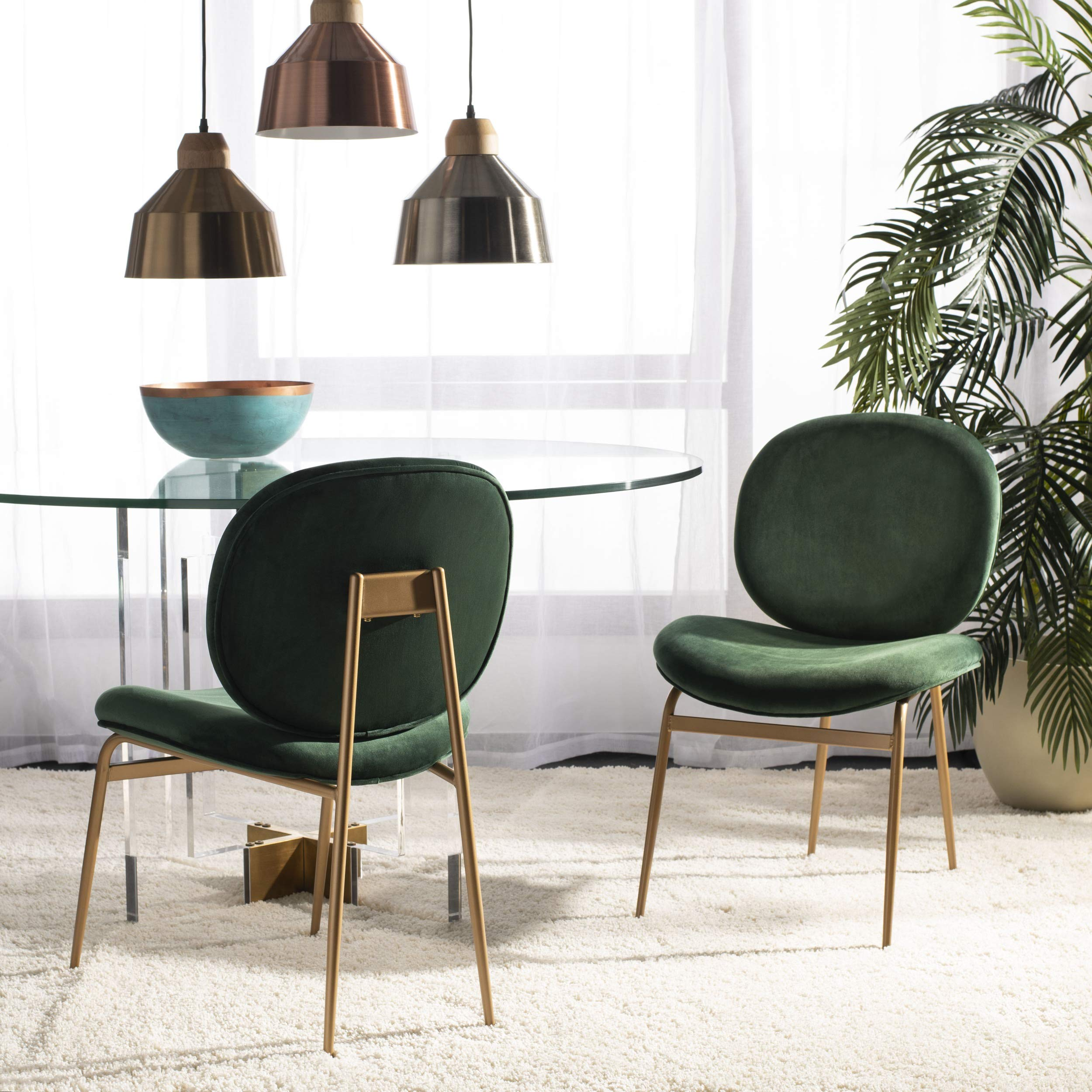Safavieh Home Collection Jordana Round Malachite Green and Gold Side Accent Chair, by Safavieh