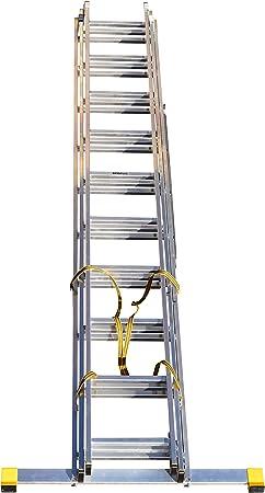 BPS Access Solutions - Escalera extensible de 3 secciones (con estabilizador integrado, 6,5 m): Amazon.es: Hogar