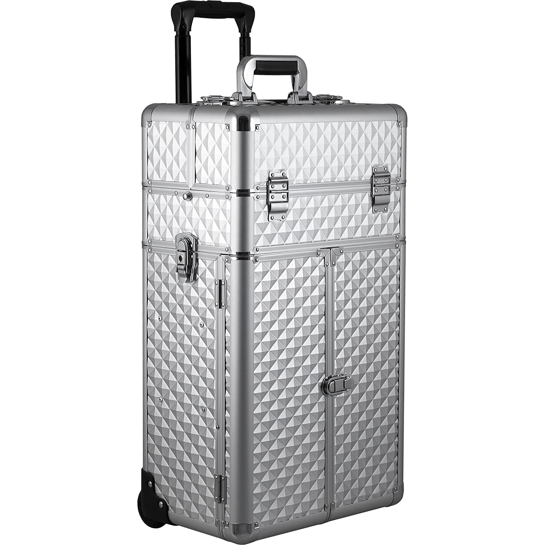 B07B2L866K Sunrise Montebello 2-in-1 Rolling Makeup Case Professional Nail Travel Organizer Box, Silver Diamond 81dGeBxkm1L._SL1500_