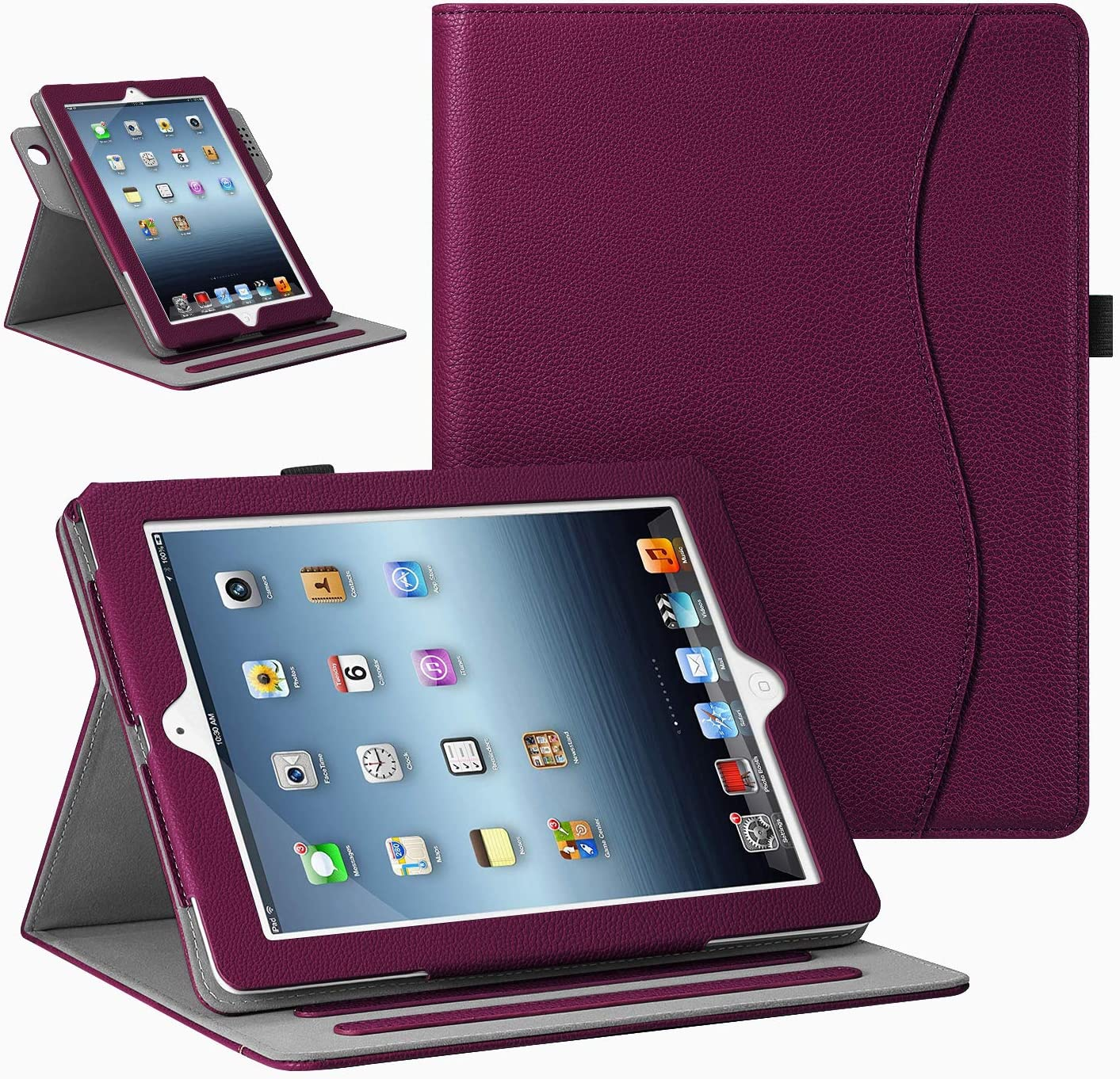 Fintie Case for iPad 4 3 2 (Old Model) - [Corner Protection] 360 Degree Rotating Multi-Angle Stand Cover w/Pocket, Auto Sleep Wake for iPad 2/3, iPad 4th Gen Retina Display 9.7 inch Tablet, Purple