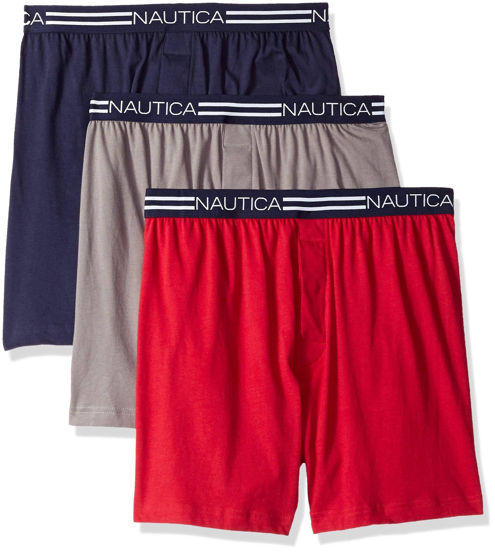 Nautica Men's Tagless Soft Cotton Knit Boxer Red/Platium Grey/Peacoat - 65232, XL