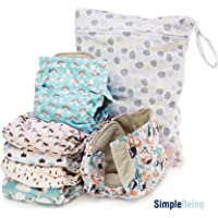 Simple Being Reusable Cloth Diapers, Double Gusset, One Size Adjustable, Washable Soft Absorbent, Waterproof Cover, Eco-Friendly Unisex Baby Girl Boy, with six 4-Layers Microfiber Inserts (Whimsical)