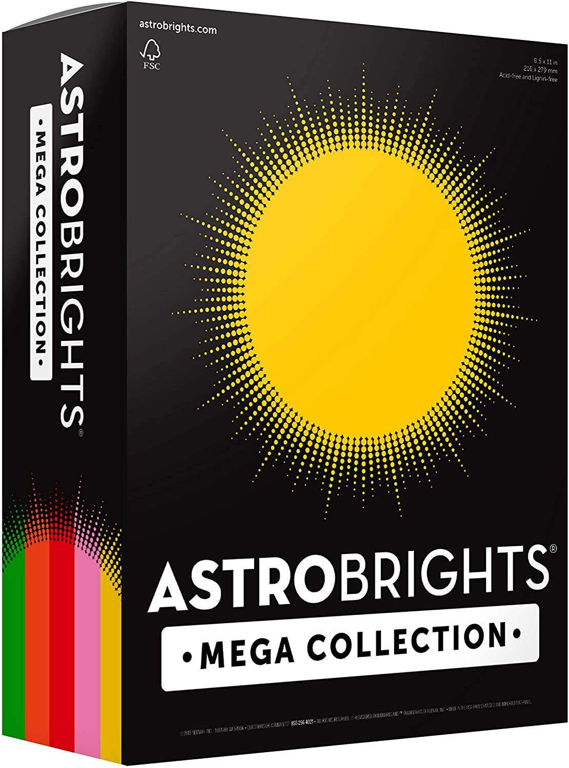 "Astrobrights Mega Collection Colored Paper, 8 ½ x 11, 24 lb/89 gsm, ""Retro"" 5-Color Assortment, 625 Ct. (91685)""Amazon Exclusive"" - More Sheets!"