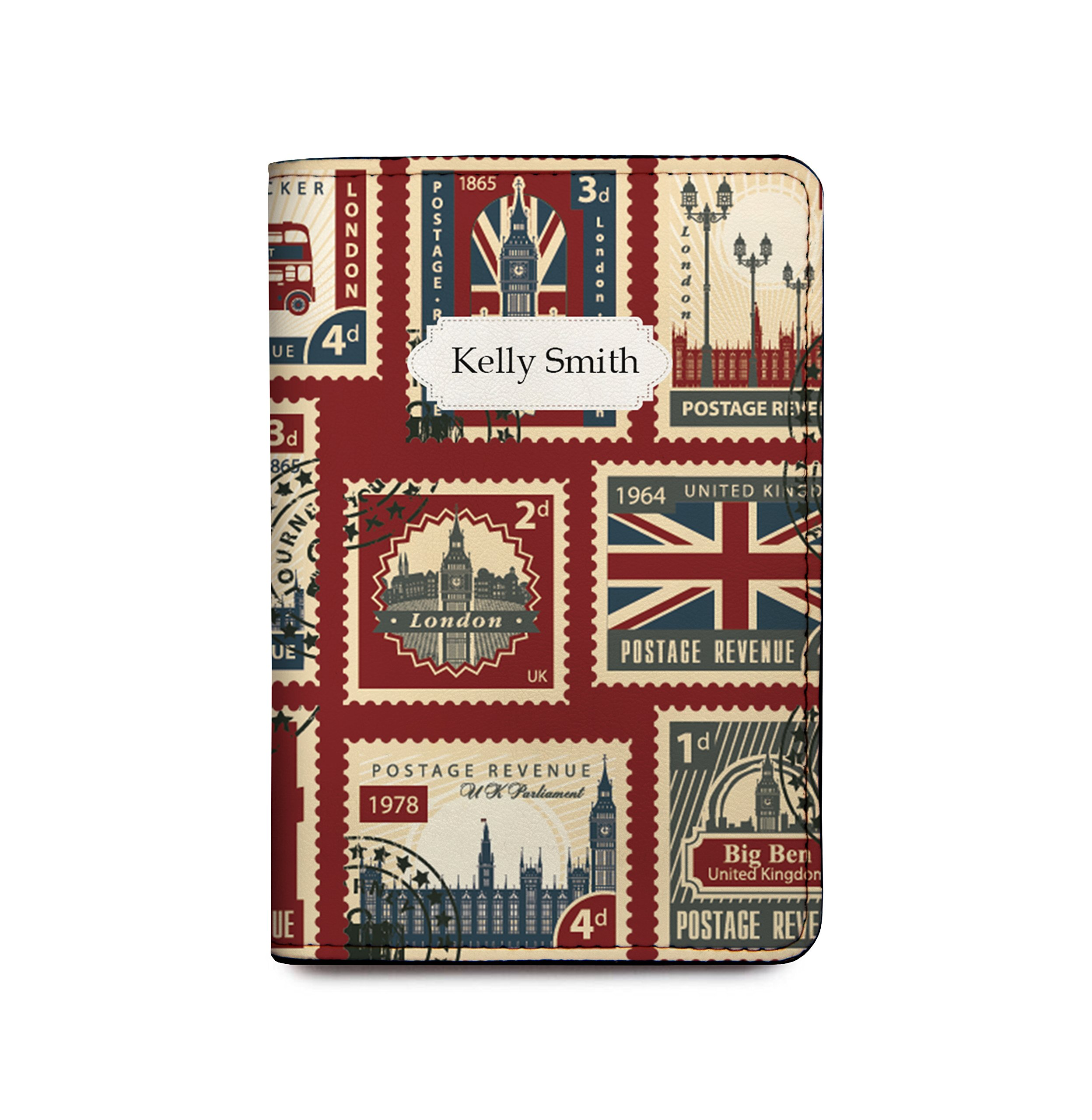 Personalized RFID Blocking Leather Passport Cover England Stamps