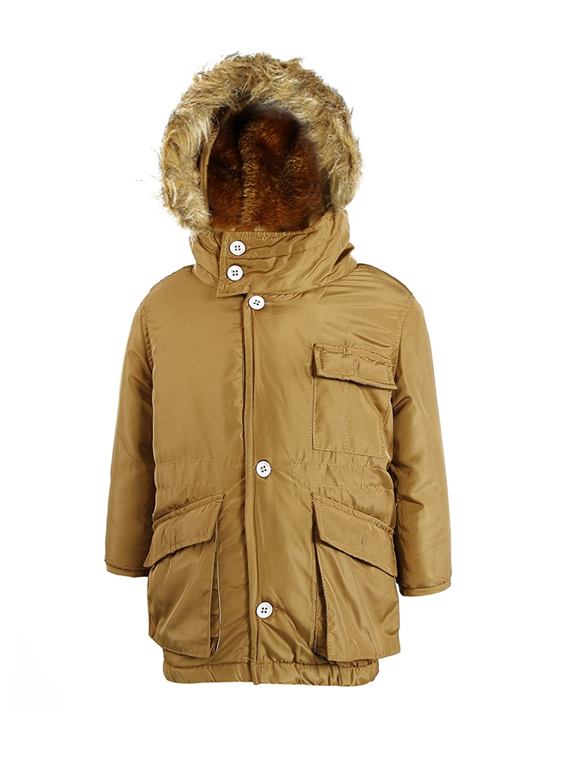 Zity Boys winter Padded Jacket with Pockets Belt and Fur Hooded ZITY-CA-20161019001