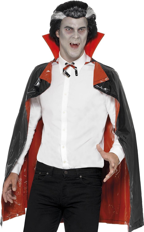 con Cuello Smiffys-97321 Capa de Vampiro Reversible de PVC 114cm Tama/ño /único 97321 Color Negro y Rojo