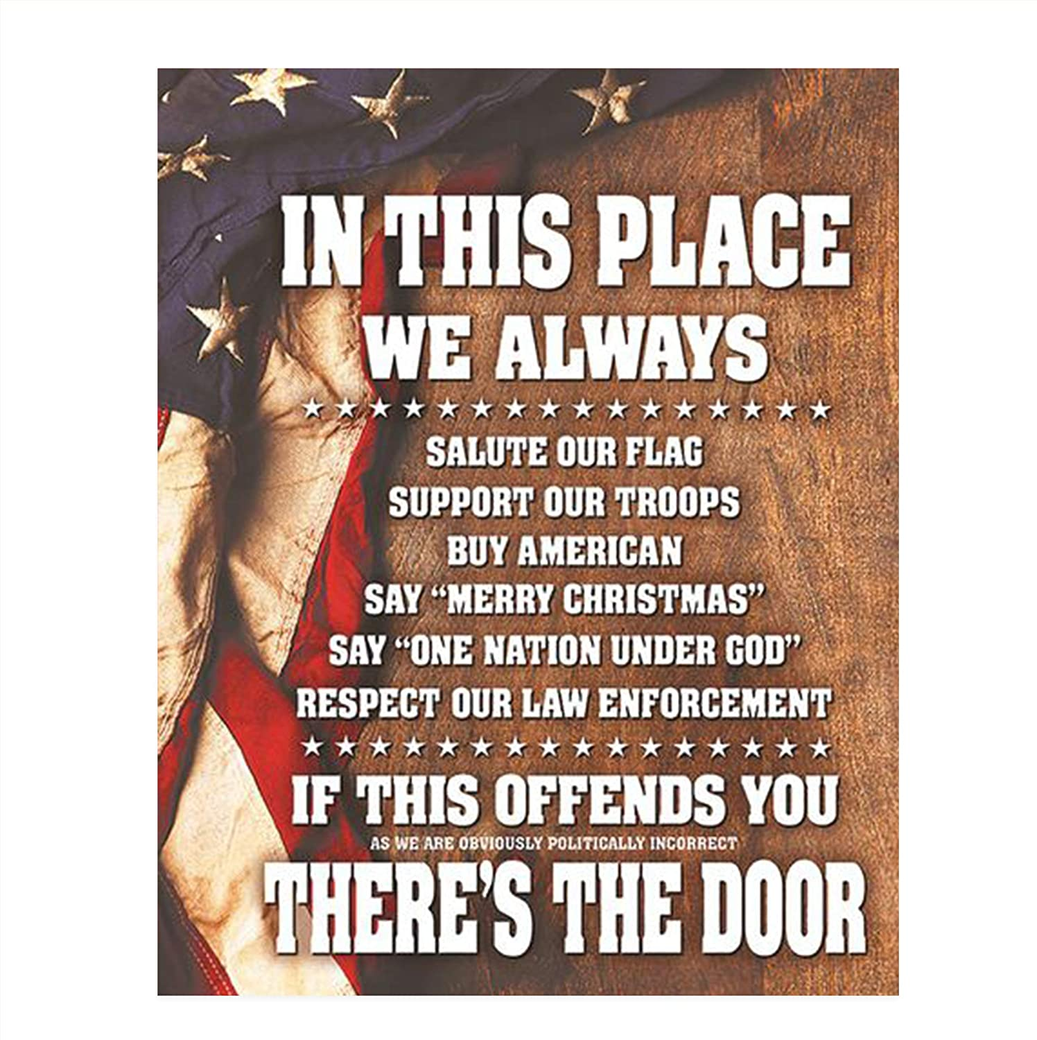 """In This Place-We Salute the Flag & Support Our Troops""- 8 x10"" Wall Decor Image-Ready To Frame. Pro-American Poster Print. Patriotic Decor for Home-Office-Garage-Bar. Show Your Love of USA!"