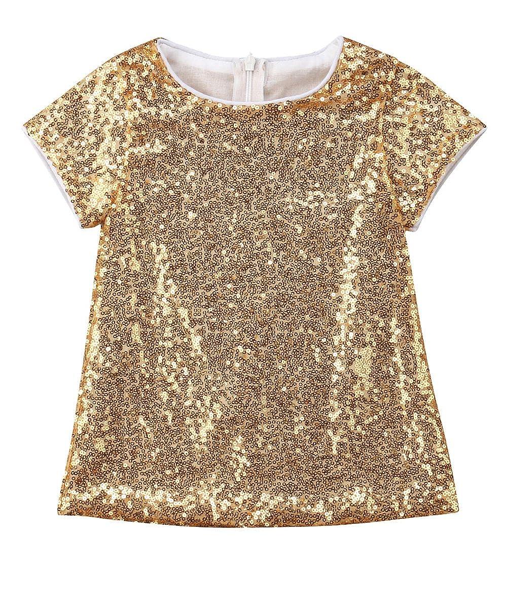 Toddler Baby Girl Golden Sequin Princess Short Sleeve Dresses
