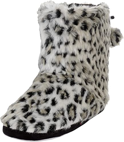 Ladies Plush Faux Fur Leopard Animal