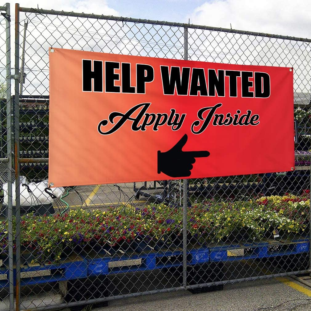 Vinyl Banner Multiple Sizes Help Wanted Apply Inside A Business Outdoor Weatherproof Industrial Yard Signs Red 10 Grommets 60x144Inches