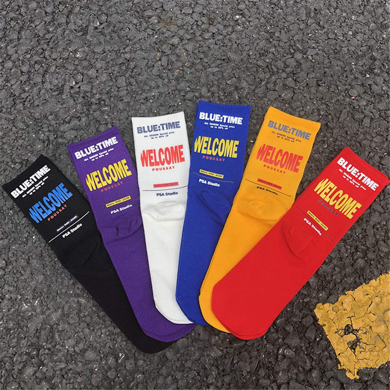 Korean Socks Purple Letters Cotton Sports Socks Hip Hop Couple Man Tube Socks