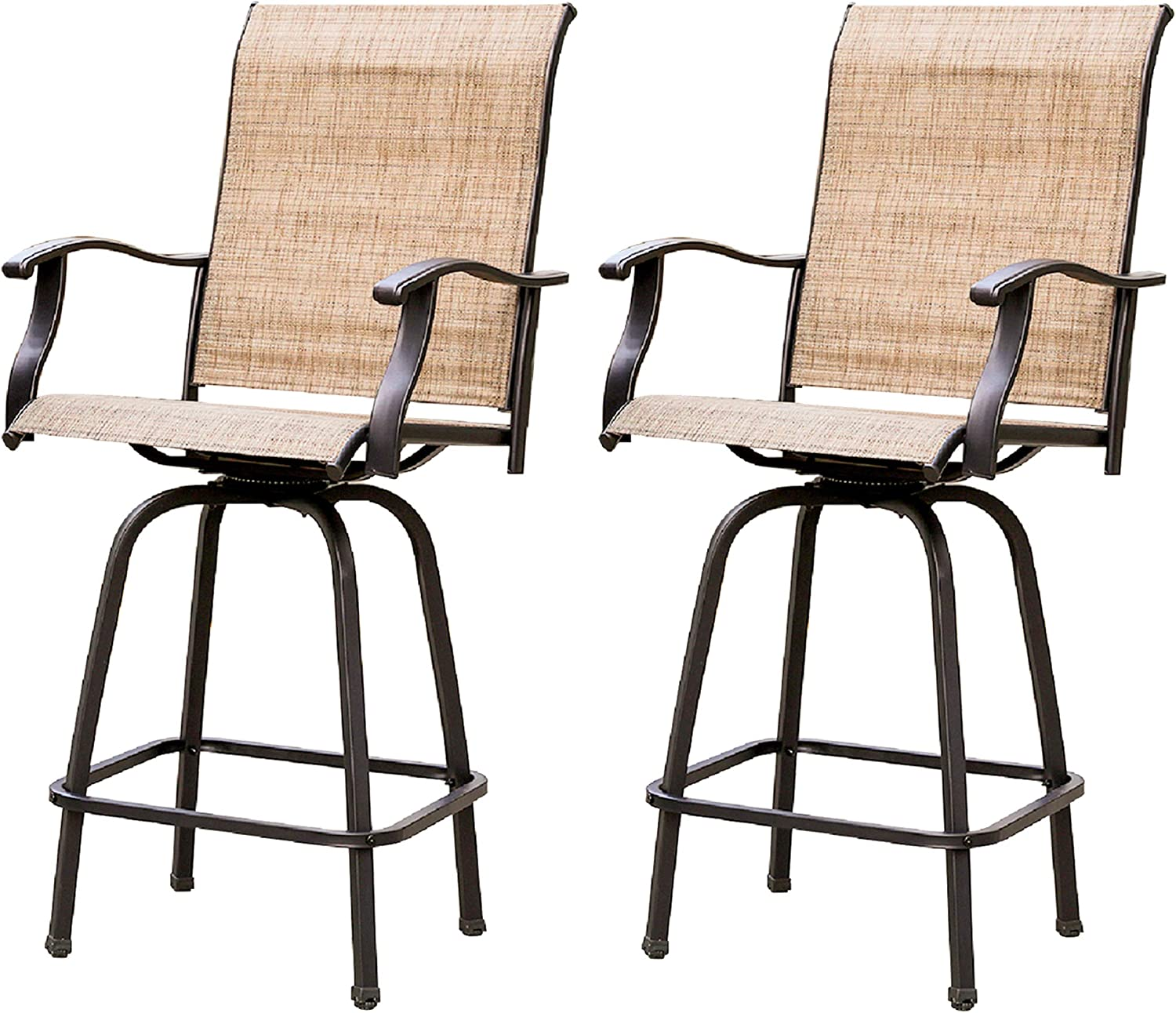LOKATSE HOME 2 Piece Swivel Bar Stools Outdoor High Patio Chairs Furniture with All Weather Metal Frame: Garden & Outdoor