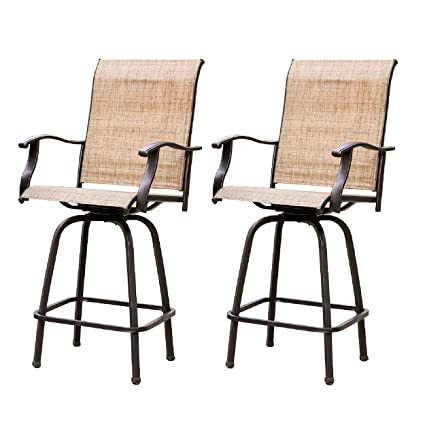 Amazon.com  LOKATSE HOME 2 Piece Swivel Bar Stools Outdoor High Patio Chairs Furniture with All Weather Metal Frame Beige-2chairs  Garden u0026 Outdoor  sc 1 st  Amazon.com & Amazon.com : LOKATSE HOME 2 Piece Swivel Bar Stools Outdoor High ...