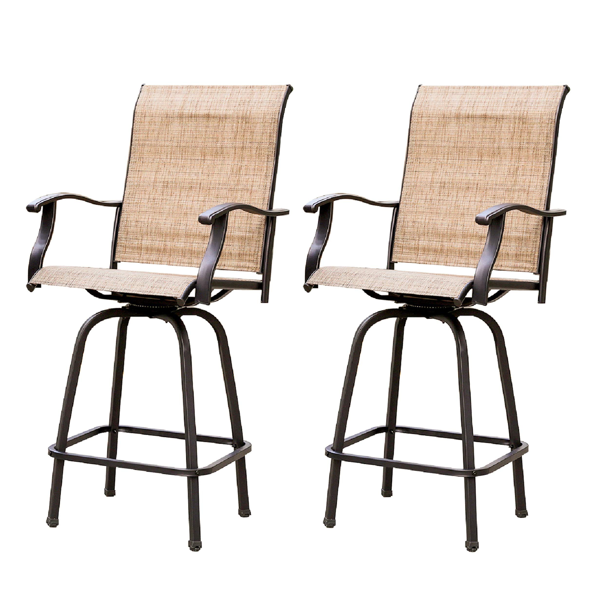LOKATSE HOME 2 Piece Swivel Bar Stools Outdoor High Patio Chairs Furniture with All Weather Metal Frame, Beige-2chairs