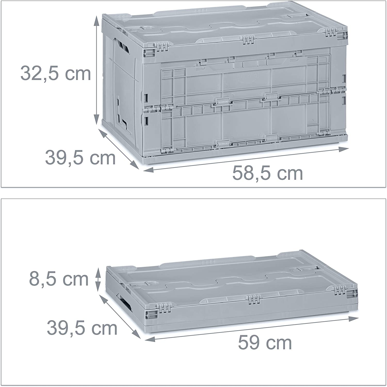 Qualit/ät Relaxdays Profi Transportbox stabil Gr/ün Gewerbe HxBxT 32,5x58,5x39,5cm 60 L hochwertiger Kunststoff PP