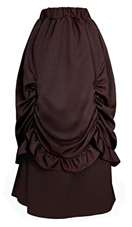 1e4f9ae751 Victorian Steampunk Gothic Theater Bustle Long Skirt (Brown) at ...