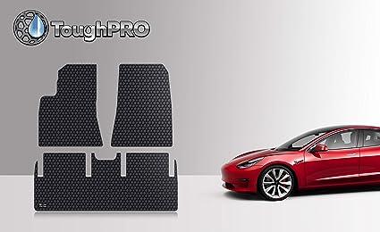 ToughPRO Tesla Model 3 Floor Mats Set - All Weather - Heavy Duty - Black  Rubber -2017-2018