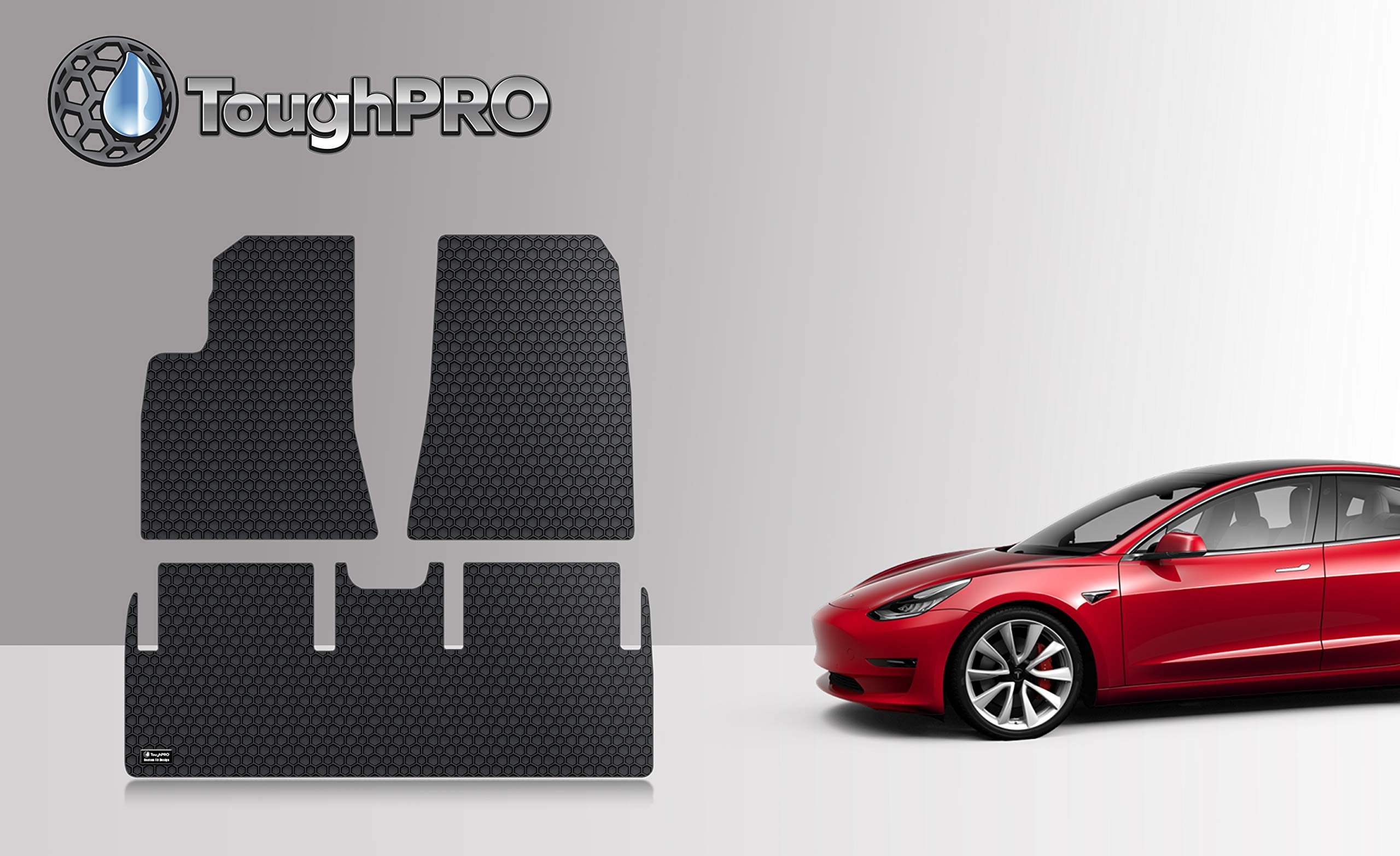 ToughPRO Floor Mats Set (Front Row + 2nd Row) Compatible with Tesla Model 3 - All Weather - Heavy Duty - (Made in USA) - Black Rubber - 2017