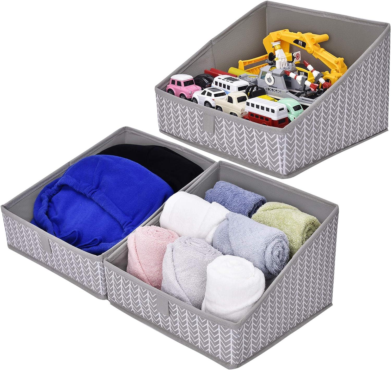 GRANNY SAYS Open Storage Bins, Closet Shelf Organizer Bins, Trapezoid Storage Baskets, Gray/White, 3-Pack