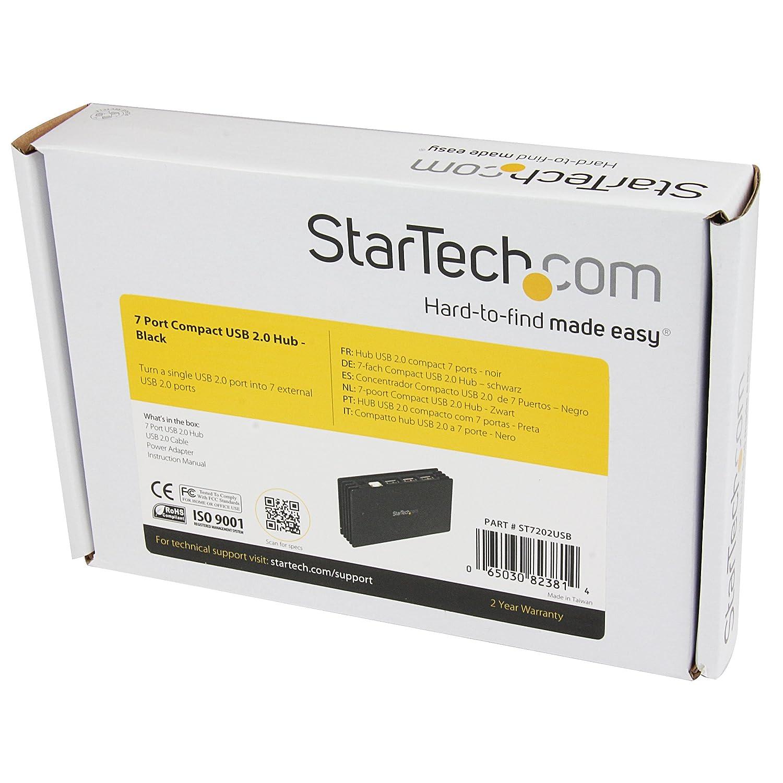 Amazon.com: StarTech.com 7 Port Compact Black USB 2.0 Hub - 7-Port USB Hub - Portable USB 2.0 Hub - Includes Optional Power Adapter: Electronics
