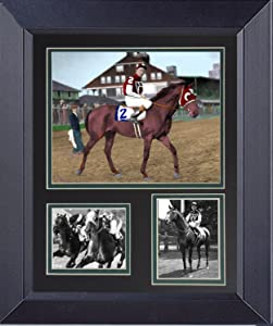 Gatsbe Exchange Seabiscuit Defeats War Admiral Horse Race of the Century an 11 x 14 Framed Double Mat Print Under Glass