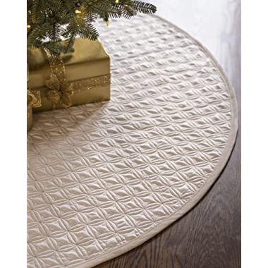 Balsam Hill Lancaster Wedding Ring Quilted Tree Skirt, 60 inches, Ivory White
