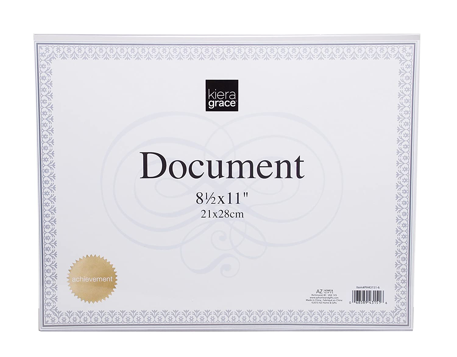 Kiera Grace L Document Frame, 11 by 8.5 Inch, Clear AZ Home and Gifts PH43151-6