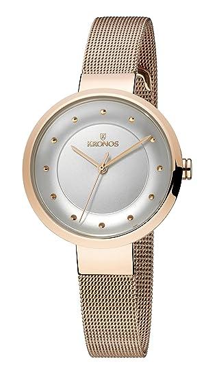 KRONOS - Ladies Rose 997.7.43 - Reloj de señora de Cuarzo, Brazalete de Acero Chapado Oro Rosa, Color Esfera: Plateada: Amazon.es: Relojes