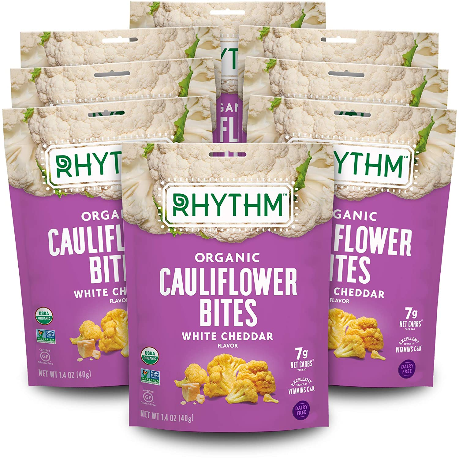 Rhythm Superfoods Crunchy Cauliflower Bites,Organic & Non-GMO, Vegan/Gluten-Free Vegetable Superfood Snacks, White Cheddar, 1.4 Ounce (Pack Of 8)