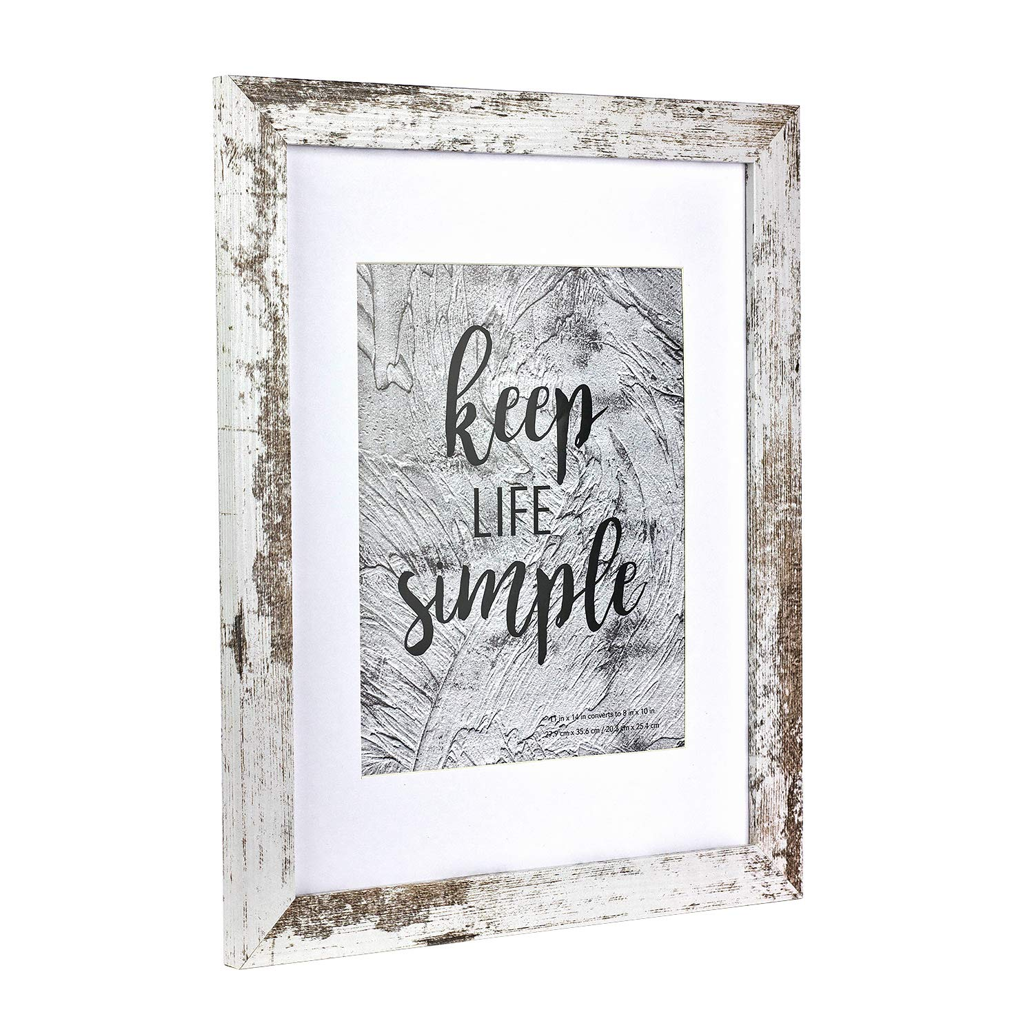 Home&Me 11x14 Picture Frame Rotten White 2 Pack - Made to Display Pictures 8x10 with Mat or 11x14 Without Mat - Wide Molding - Wall Mounting Material Included by Home&Me (Image #2)
