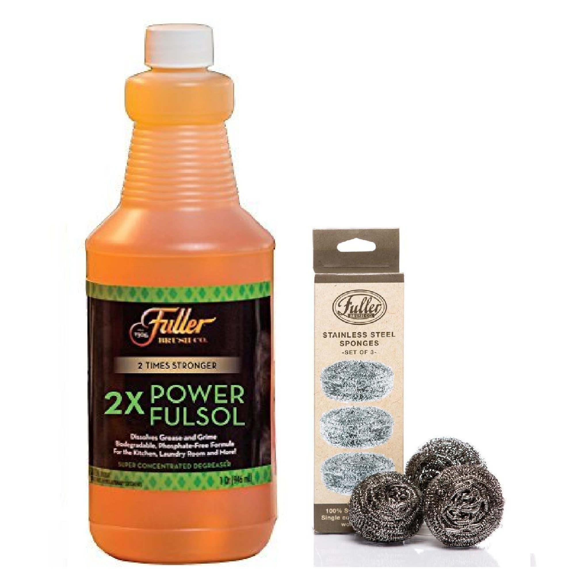 Fuller Brush Fulsol 2X Power Degreaser Kit with Stainless Steel Sponges