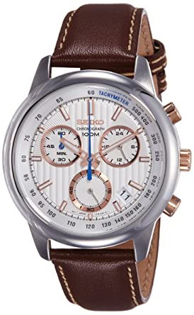 599e408dc SEIKO SSB211P1,Men's Chronograph,Stainless Steel Case,Brown Leather Strap, 100m WR