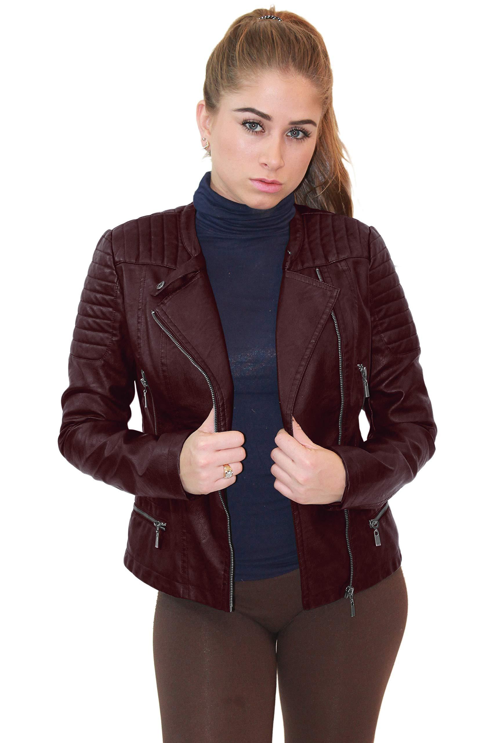 Olivia Miller Womens Faux Leather Zip up Moto Biker Jacket JK5207S Burgundy XLarge by Olivia Miller