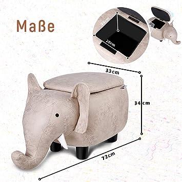 72x34x33cm Sgabello Bambino Tessuto Eco-Tech Facile da Mantenere Capacit/é 120kg Pouff Contenitore Besit Poggiapiedi Animali /Él/éphant