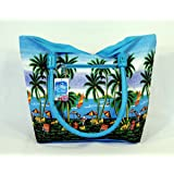 Water Resistent Palm Tree Canvas Beach Tote Bag Wood Balls Zipper Closure 21 X 15 X 6""