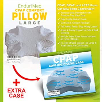 CPAP Pillow W Extra Cooling Mesh Pillow Case Blue Memory Foam Contour Design Reduces Face