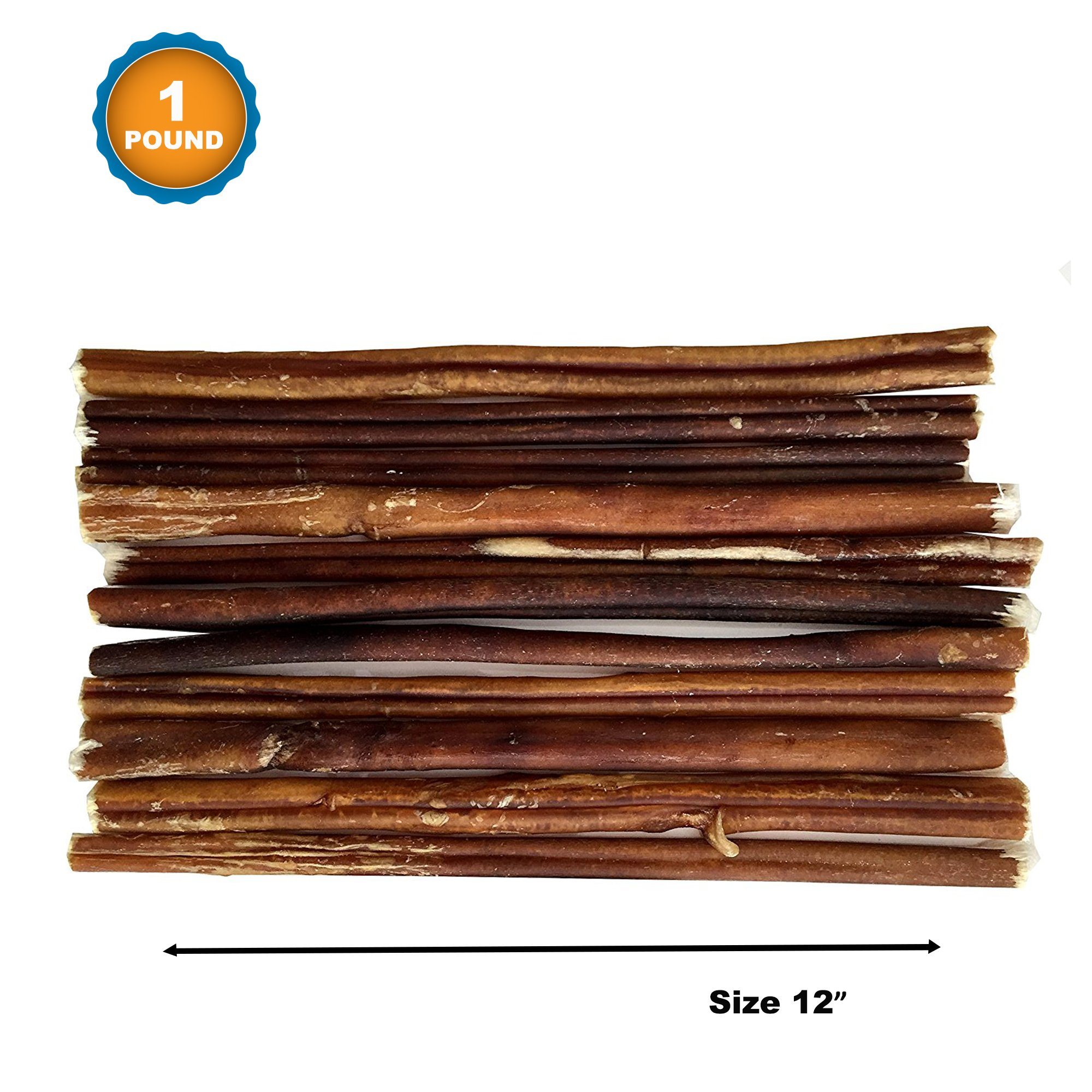 123 Treats - 12 inch Dog Bully Sticks (1 Pound Bag) 100% Natural Chews for Dogs & Puppies - Grass-Fed Free-Range Premium Beef Dog Chews - Bulk Dog Sticks Chew Dental Treats