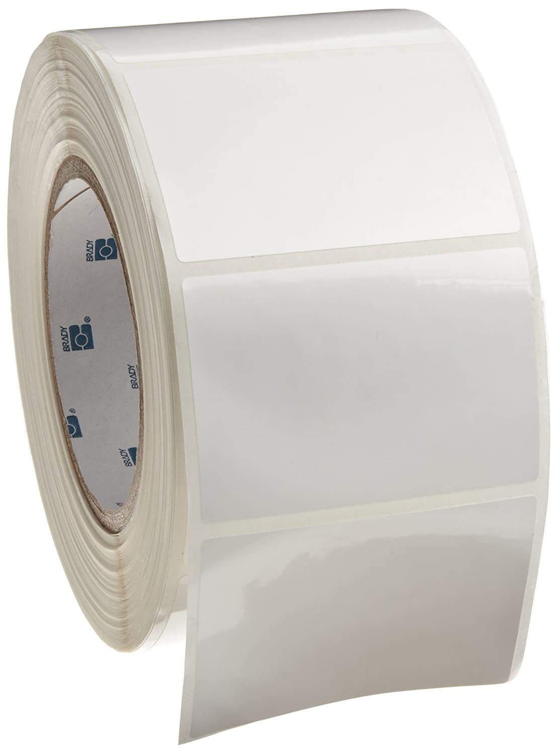 B-483 Ultra Aggressive Polyester Brady THT-19-483-1 3 Width x 2 Height Gloss Finish White Thermal Transfer Printable Label 1000 per Roll