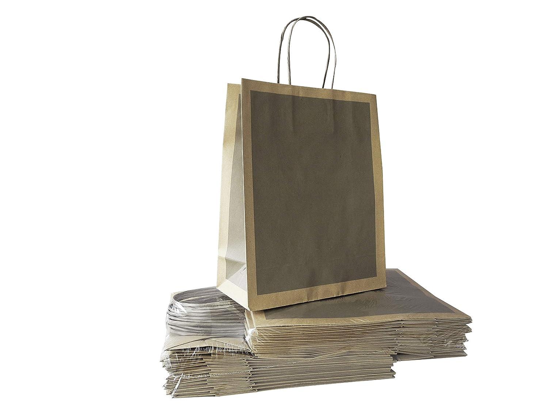 Shopper in Sealing color Avana cf 25 pz f.to cm 27+12x37 maniglia ritorta Carte Dozio
