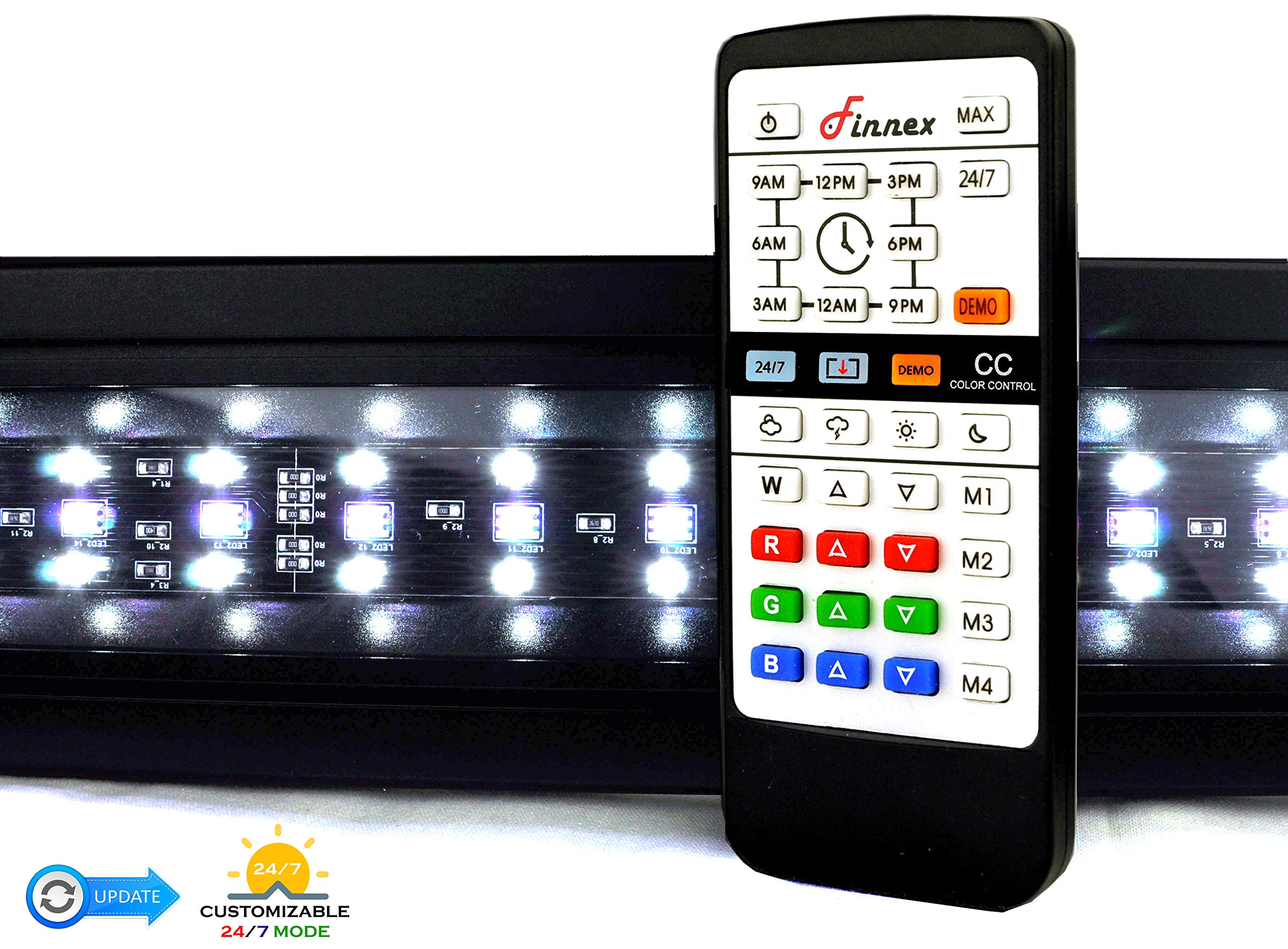 Finnex KL-C48A Planted+ 24/7 LED V2 Aquarium Light, 46.5-48'', Black