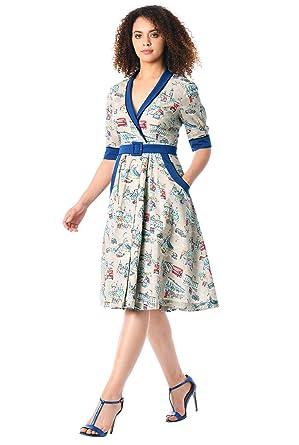 eShakti Womens London Print Cotton Belted Dress XS-0 Regular Beige/Royal Blue Multi