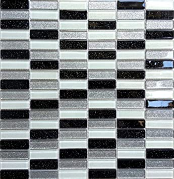 30x30cm black white silver glass mosaic tiles sheet mt0028