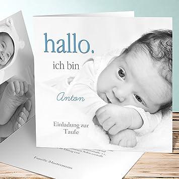 Einladungskarten Für Taufe Selber Basteln Willkommen 35 Karten Quadratische Klappkarte 145x145 Inkl Weiße Umschläge Blau