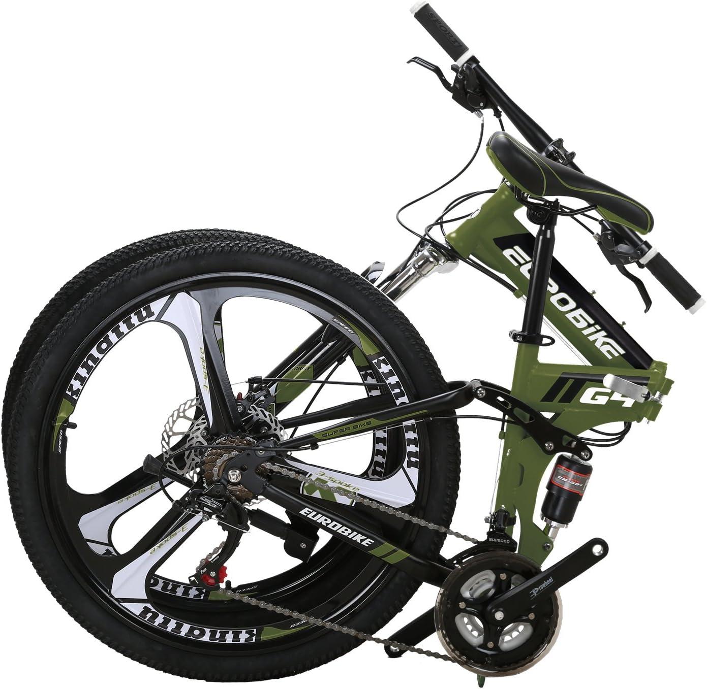 Amazon Com Eurobike Eurg4 Mountain Bike 26 Inches 3 Spoke Dual Suspension Folding Bike 21 Speed Mtb Army Green Sports Outdoors